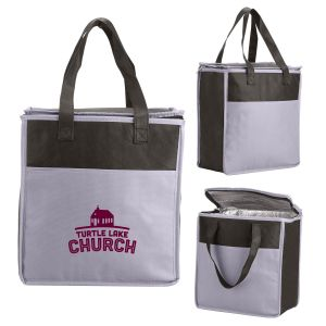 """Order in Bulk Two-Tone Insulated Custom Tote Bags - 10.75""""w x 11.5""""h x 6""""d Dependable Print Supplier"""