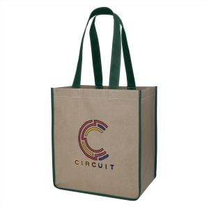 "Economical Print Two-Tone Kraft Custom Tote Bag - 12.5""w x 14""h x 8.5""d Top Print Company"