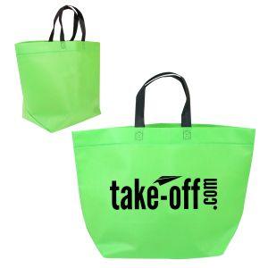 "Two-Tone Non-Woven Custom Tote Bag - 19""w x 13""h x 7""d"