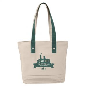 """Buy in Bulk Two-Tone Pleated Custom Tote Bag - 16""""w x 14""""h x 6""""d Dependable Printing Company"""