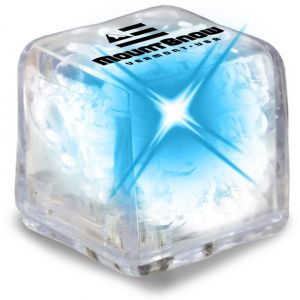 Lowest Price Ultra Glow Light-Up Promotional Ice Cubes - Clear w/ Blue LED Best Print Store
