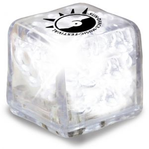 Budget Ultra Glow Light-Up Promotional Ice Cubes - Clear w/ White LED Best Print Company