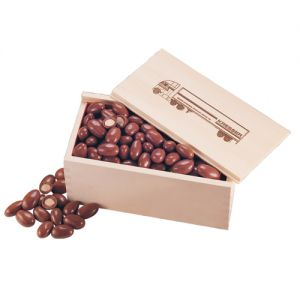 Purchase in Bulk Wooden Collector's Box filled w/ Promo Chocolate Covered Almonds - 12 oz. Top Print Store