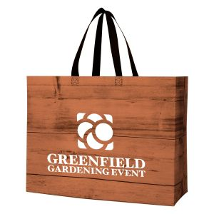 """Reasonable Priced Wood-Tone Non-Woven Laminated Custom Tote Bag - 16.5""""w x 15.38""""h x 6""""d Dependable Print Factory"""