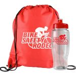 Cheap Drawstring Backpack Gift Set w/ Custom Water Bottle - 27 oz. At Special Offer