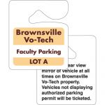 """Economical Manufacture Hanging Custom Printed Parking Permit - 3""""w x 3.5""""h Dependable Print Company"""