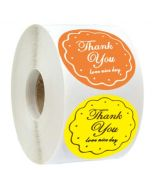 Custom Floral Circle Thank You Round Stickers | TY014 | Wedding Favour Stickers