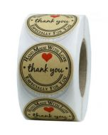 Hand Made With Love Kraft Thank You Stickers | TY084 | Thank Your labels