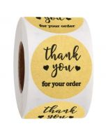 For Your Order Two Black Love Kraft Thank You Stickers | TY087 | Thank Your labels
