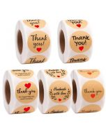 Hand Made With Red Love Kraft Thank You Stickers | TY091 | Thank Your labels