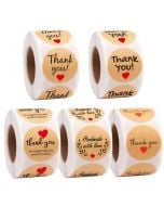 Hand Made With Red Love Kraft Thank You Stickers   TY091   Thank Your labels