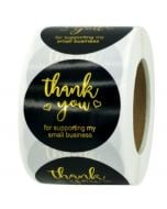 Black Background Gold Foil Thank You Stickers | TY105 | Thank Your labels