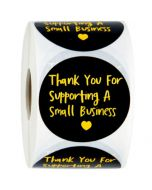 Black Background Gold Foil Thank You Stickers | TY107 | Thank Your labels