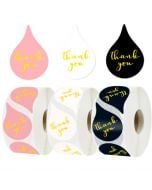 Three Water Drops Gold Foil Thank You Stickers | TY109 | Thank Your labels