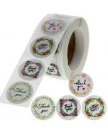 Custom Floral Circle Thank You Round Stickers   TY012   Wedding Favor Stickers