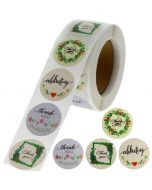Custom Floral Circle Thank You Round Stickers | TY015 | Wedding Favour Stickers