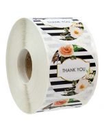Floral Striped Thank You Round Decals | TY030 | Thank You Labels for Favors