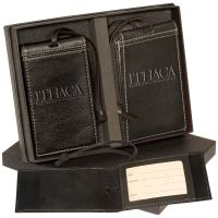 Manufacture in Bulk LEEMAN NYC Barclay Leather Promotional Luggage Tag Set Dependable Print Supplier